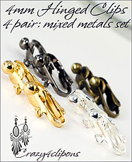 Clip Earrings Findings: 4mm Hinged Set Mixed Metals Set