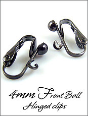 Clip Earrings Findings: Black Gunmetal 4mm Ball Hinged Parts