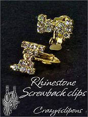 Clip Earrings Findings: Parts w/ Rhinestones