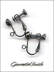 Clip Earrings Findings: Gunmetal Black Screw Back