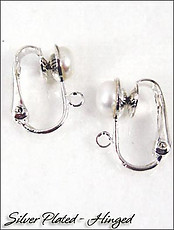 Clip Earrings Findings: Custom Made Top Pearl Hinged