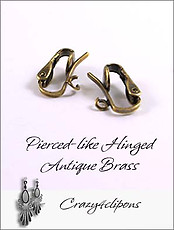 Clip Earrings Findings: Antique Brass Pierced-like