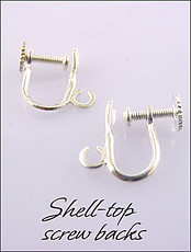 Clip Earrings Findings: Silver/Gold Top Shell Screwbacks