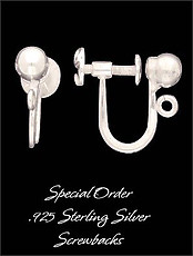 Clip Earrings Findings: Sterling Silver w/ Screw Backs